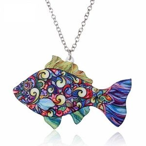 Jewelry - Colorful Abstract Fish Acrylic Pendant Necklace